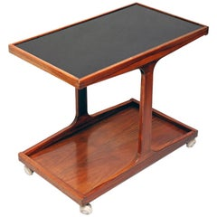 Midcentury Danish Mobile Teak Wood Bar Cart with Black Glass Top, 1960s