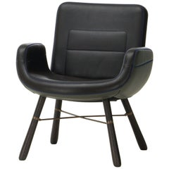 Vitra East River Chair in Dark Mix Leather with Dark Oak Legs by Hella Jongerius