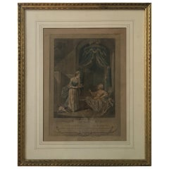 18th Century French Engraving Print Signed A. Romanet Dated 1774