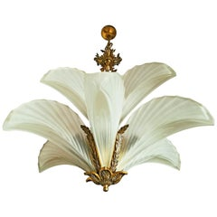 Large Art Deco Gilt Bronze Frosted Glass/ Palm Tree Hollywood Regency Chandelier
