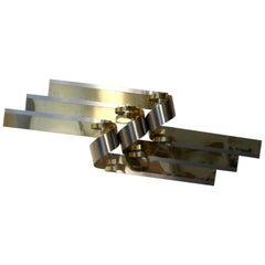 Large C. Jere Chrome and Brass Ribbon Wall Sculpture