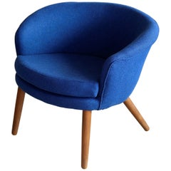 Nanna Ditzel Style Danish 1950s Lounge Chair Newly Reupholstered in Wool