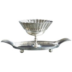 French Sterling Serving Tray with Flower Form Footed Center Bowl, circa 1960s