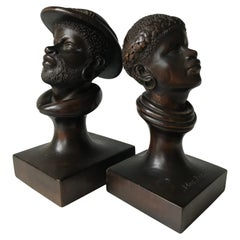 Hand Carved Pair of 1950s Papua New Guinea Male and Female Wooden Sculptures