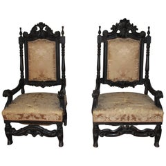 Pair of Large Ebonised Armchairs, Late 17th Century