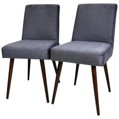 Set of Two Grey Velvet Chairs from 1970s