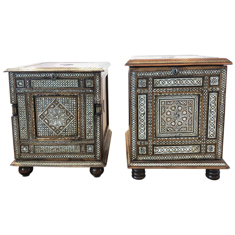 Pair of 20th Century Syrian Mother of Pearl Inlay Side Tables or Cabinets