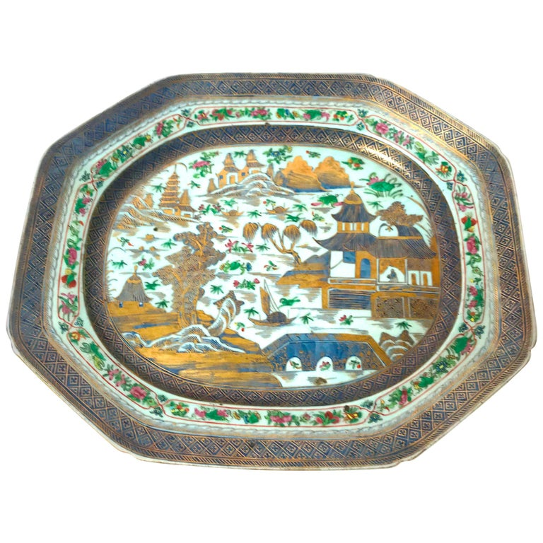 Rare Exceptional Large 18th Century Chinese Export Platter For Sale