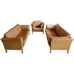 Mogens Hansen Danish Vintage Leather Sofas & Armchair Set in Butterscotch Brown