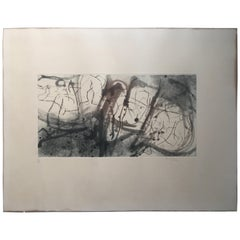Original Midcentury Abstract Art Lithograph Signed, Titled Baignade