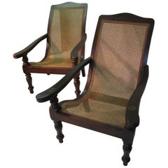 Pair of British Colonial Midcentury Plantation / Lounge Chairs