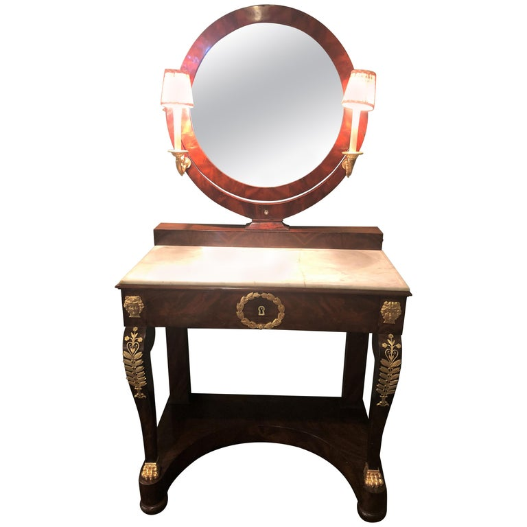 Early 19th Century Period Empire Vanity Desk with Mirror and Sconces