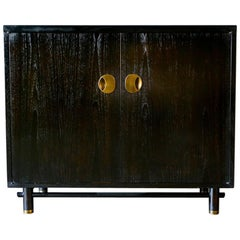 Ebonized Cabinet with Brass Hardware by Baker, circa 1970