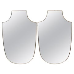 Pair of Italian Brass Shield Mirrors