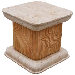 Travertine and Bamboo Square Side Table, 1980s, Italy