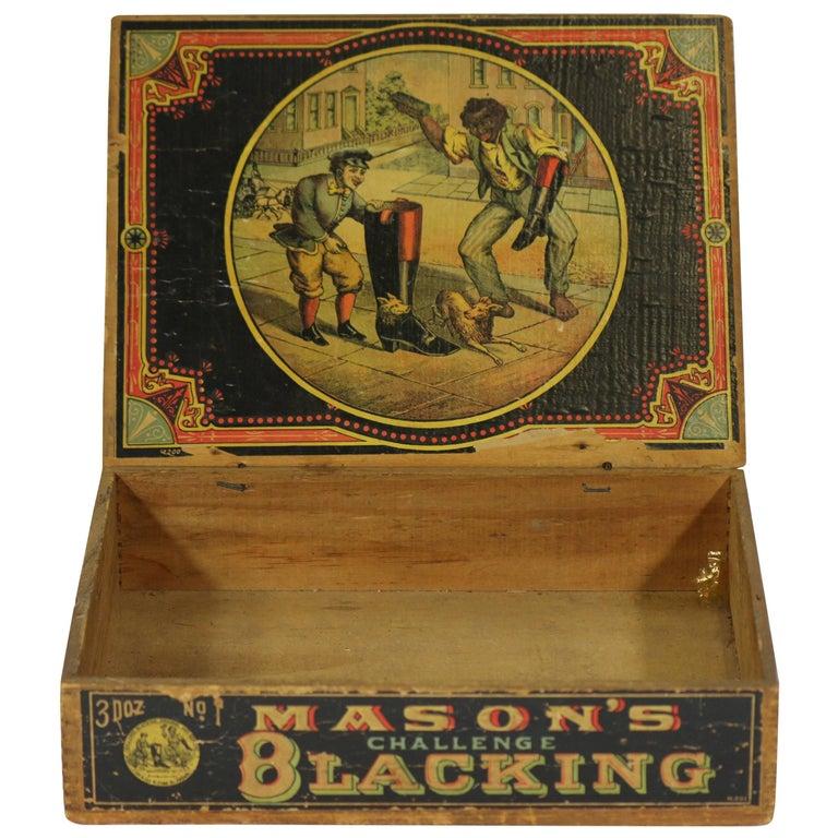 1800s Americana Advertising Masons Wood Blacking Box