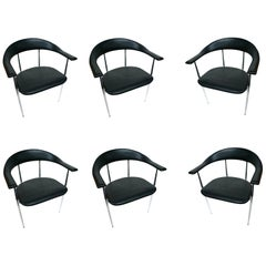 1980s Fasem Chrome and Black Rubber Dining Chairs, a Set of 6