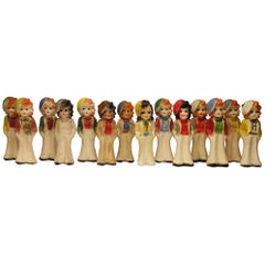 Collection of 14 Vintage Carnival Chalk Figurines