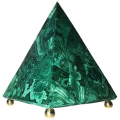 20th Italian Neoclassical Green Malachite and Gold Bronze Sculpture of Pyramid