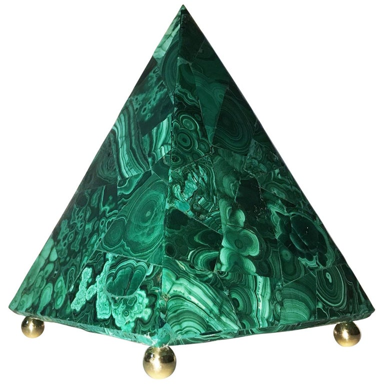 20th Italian Neoclassical Green Malachite and Gold Bronze Sculpture of Pyramid  For Sale
