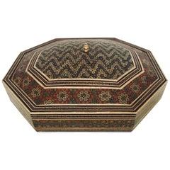 Large Persian Decorative Micro Mosaic Inlaid Jewelry Box