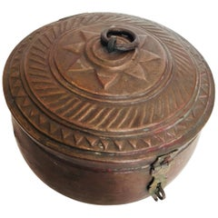 Large Decorative Round Copper Box with Lid