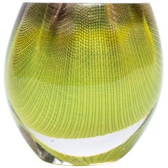 Glass and Copper Mesh Vase by Omer Arbel for OAO Works, Neon Yellow