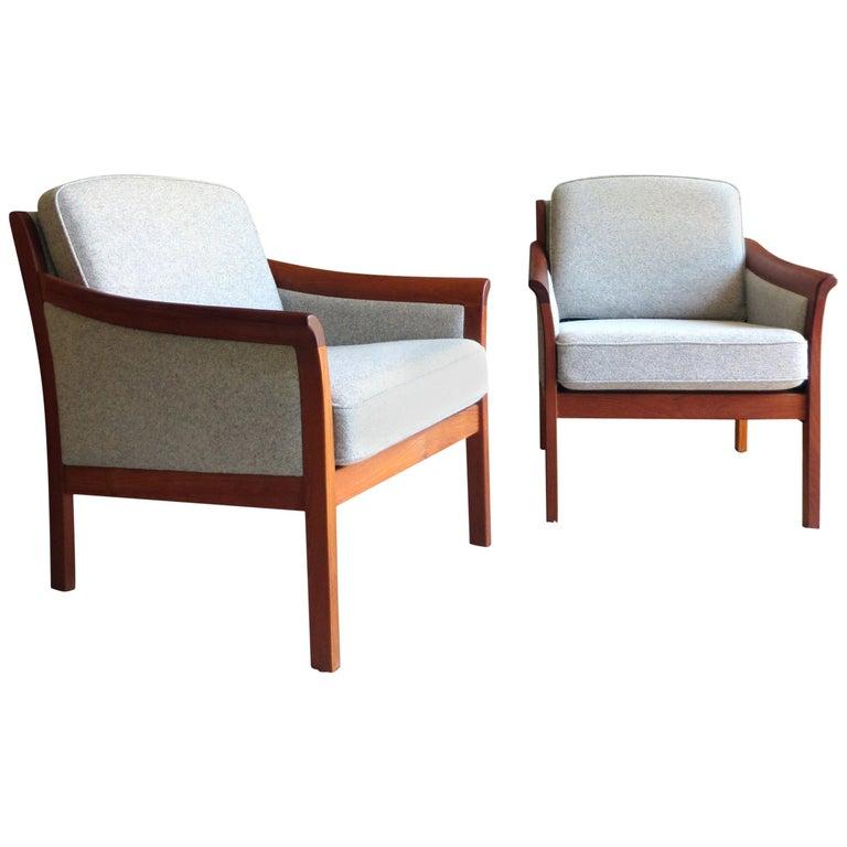 Danish Mid-Century Modern Solid Teak & Wool Easy Chairs Set in Grey-Beige, 1960s For Sale