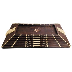 Antique Anglo-Indian set of Six Staking Wood Trays with Bone Inlays