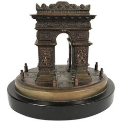 Small Grand Tour Bonze Architectural Model of the Arc De Triomphe in Paris