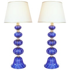 Exquisite Pair of Cobalt Blue with Gold Flecks Table Lamps