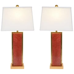 Pair of Orange Jade Table / Task Lamps with Brass Accent