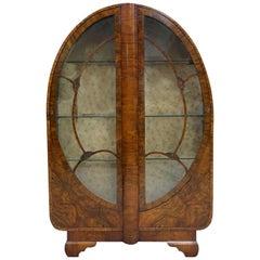 1930s Art Deco Vitrine Display Cabinet in Walnut