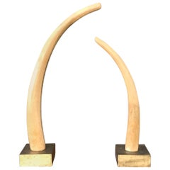 Monumental Pair of Tall Carved Wood Elephant Tusks Brass Bases