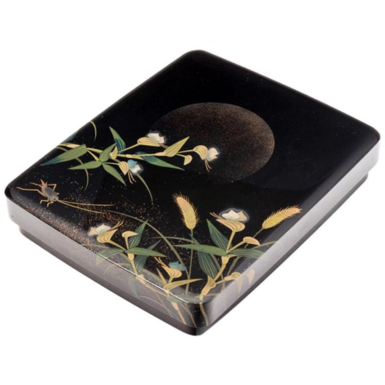 Japanese Black Lacquer Tsuzuri-Bako Writing Box with Cricket and Grasses Design For Sale