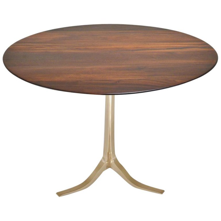 Bespoke Round Table, Reclaimed Hardwood, Bronze Base by P. Tendercool in Stock For Sale