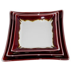 Set of Japanese Hand-Glazed Red Porcelain Dinner Plates by Contemporary Artist