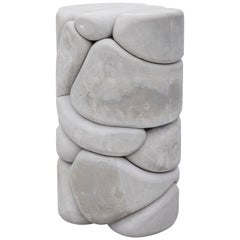 Contemporary Unique Puffy Brick Column Stool or Side Table by Soft Baroque