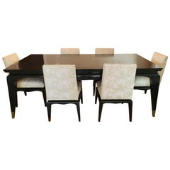 Dining Table with Six Chairs with Brass Inlay after James Mont