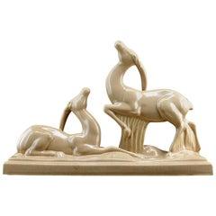 Charles Lemanceau French Art Deco Ceramic Antelopes