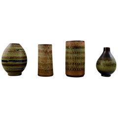 Wallakra Five Miniature Art Pottery Vases, Sweden, 1950s