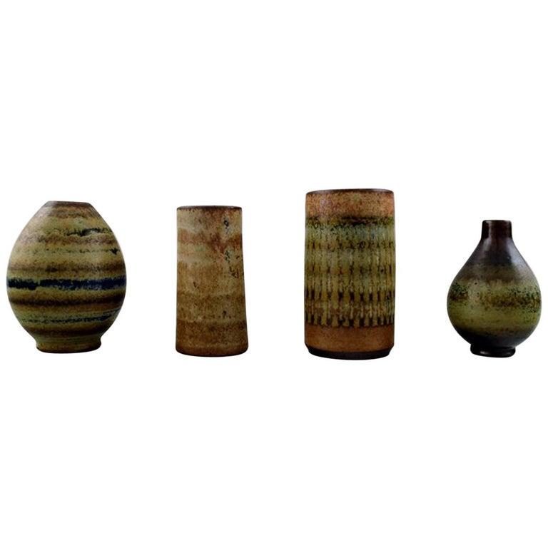 Wallakra Five Miniature Art Pottery Vases, Sweden, 1950s For Sale