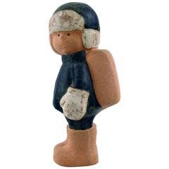 Lisa Larson for Gustavsberg, Rare Stoneware Figure of Boy with School Bag