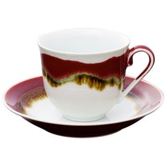 Set of Japanese Hand-Glazed Red Porcelain Cups and Saucers by Master Artist