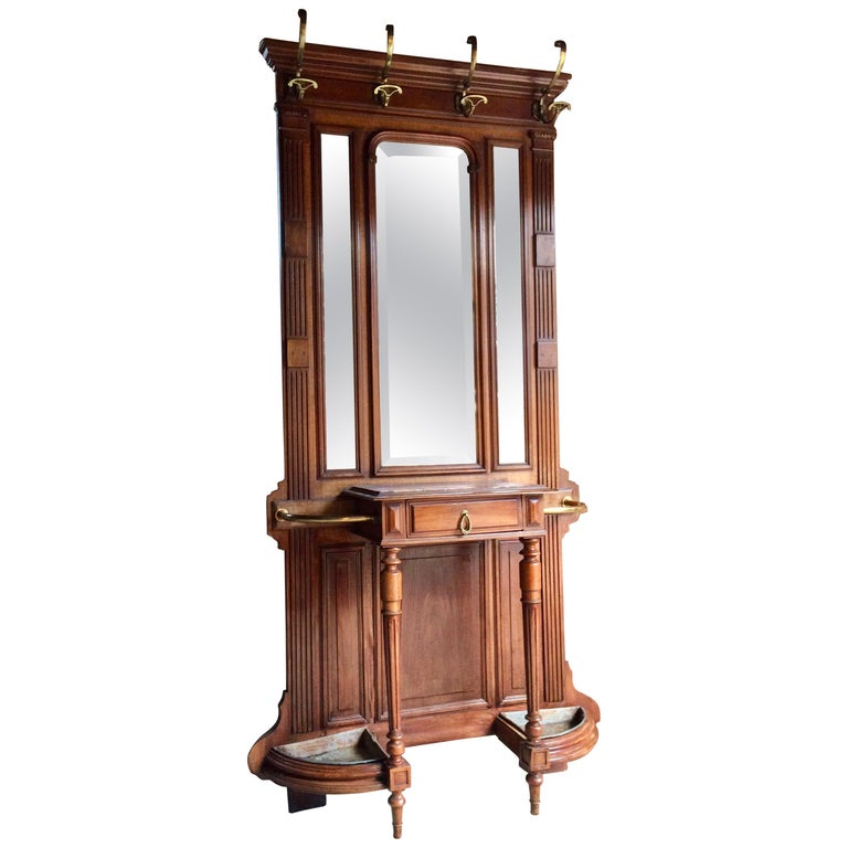 Antique French Hall Stand Coat Stand Walnut Marble 19th Century, circa 1890
