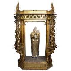 Reredos Fragment, Gilded Wood, circa Second Half of the 17th Century