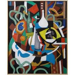 "Roland Chanco Painting ""Coupe Jaune et Carafe Blanche"", 2000"