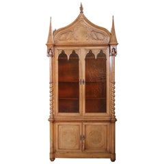 19th Century French Gothic Style Walnut Carved Bookcase or Sideboard
