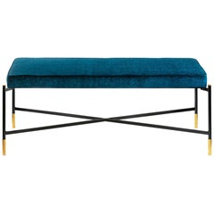 Contemporary Italian Bench in Metal, Textile and Brass Details
