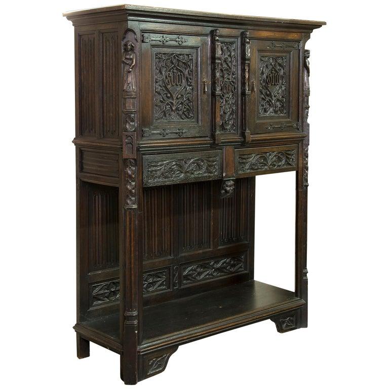 Neogothic Cupboard, Oak, 19th Century For Sale